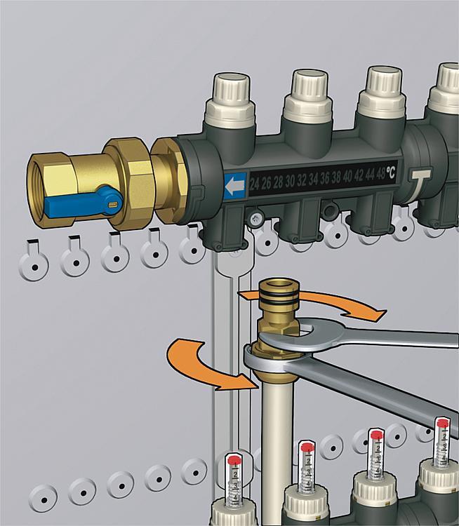 Repartiteur plastique pour fbh complet pour 4 groupes - Reglage chauffage au sol ...