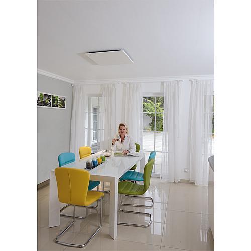 chauffage infraroue montage au plafond acier laqu poudr. Black Bedroom Furniture Sets. Home Design Ideas