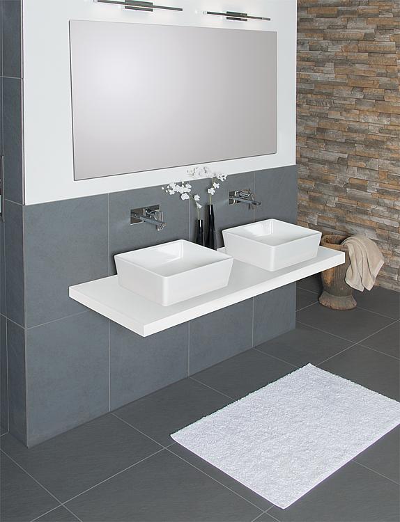 Console pour meuble de salle de bains eleng pour 2 vasques poser for Console de salle de bain