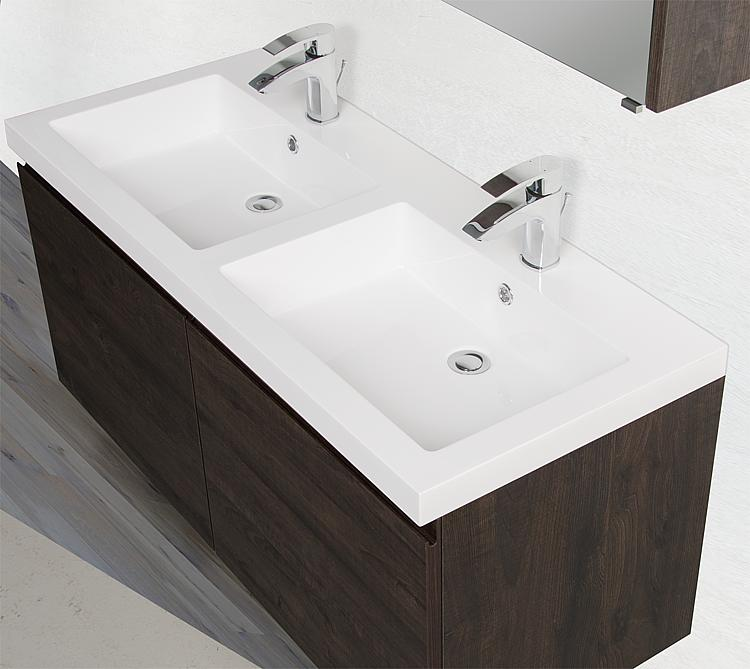 Meuble sous vasque avec vasque en fonte min rale largeur for Salle de bain xxs