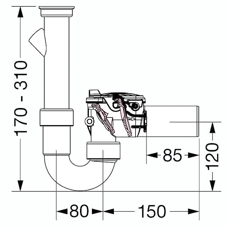 Clapet anti retour staufix pour siphon de vasque et d 39 vier dn 50 - Clapet anti siphon fonctionnement ...